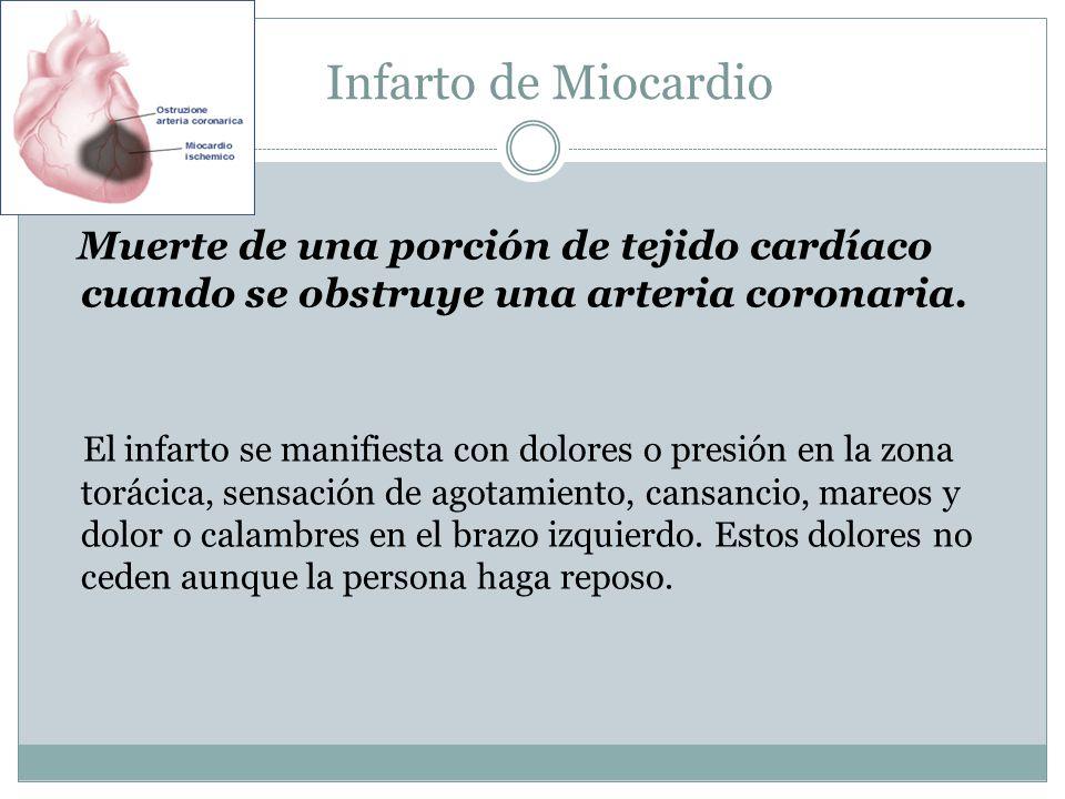Infarto de Miocardio Muerte de una porción de tejido cardíaco cuando se obstruye una arteria coronaria.