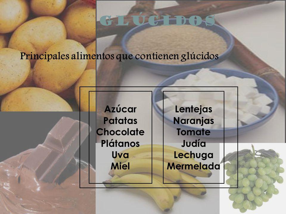 GLÚCIDOS Principales alimentos que contienen glúcidos Azúcar Patatas