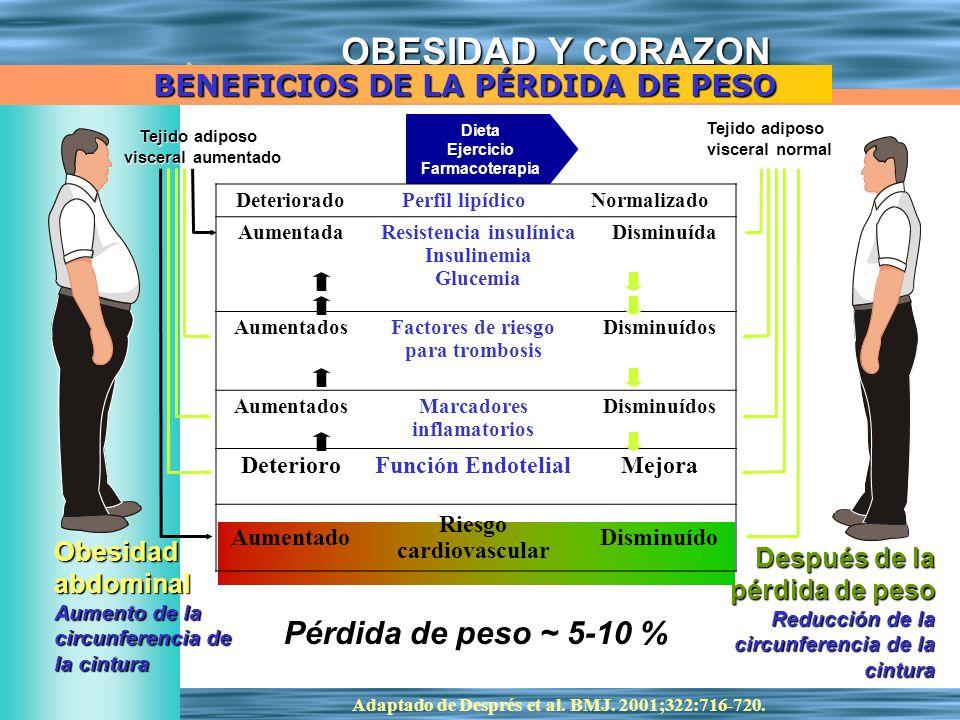 Pérdida de peso ~ 5-10 % BENEFICIOS DE LA PÉRDIDA DE PESO Obesidad