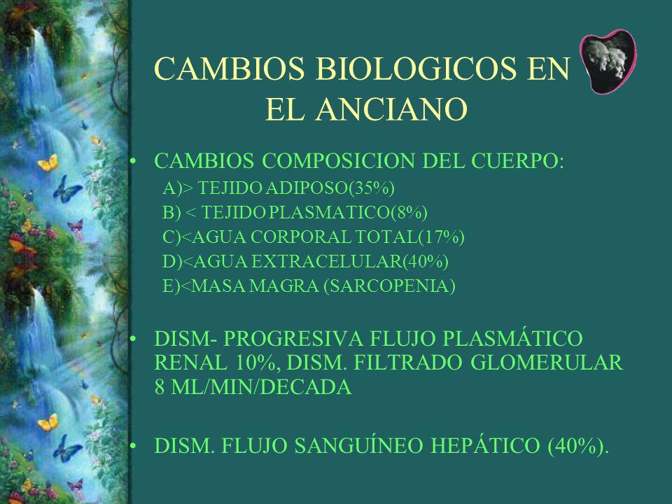 CAMBIOS BIOLOGICOS EN EL ANCIANO