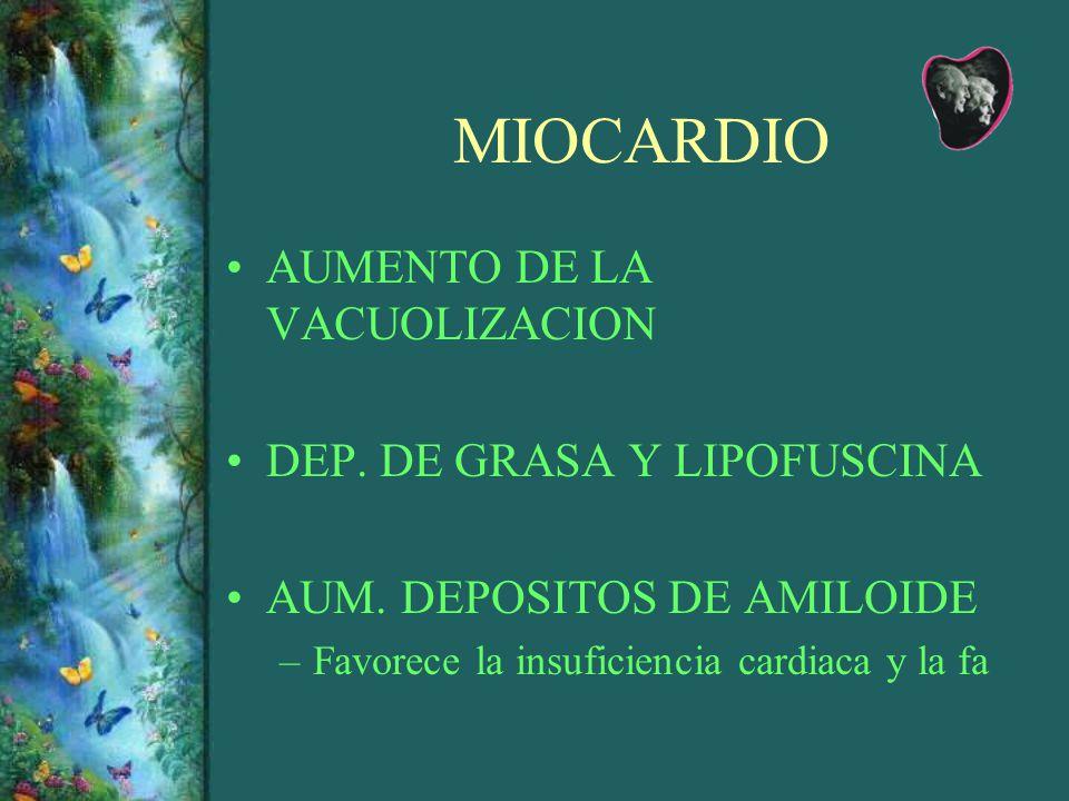 MIOCARDIO AUMENTO DE LA VACUOLIZACION DEP. DE GRASA Y LIPOFUSCINA