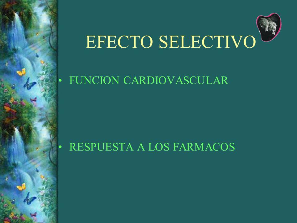 EFECTO SELECTIVO FUNCION CARDIOVASCULAR RESPUESTA A LOS FARMACOS