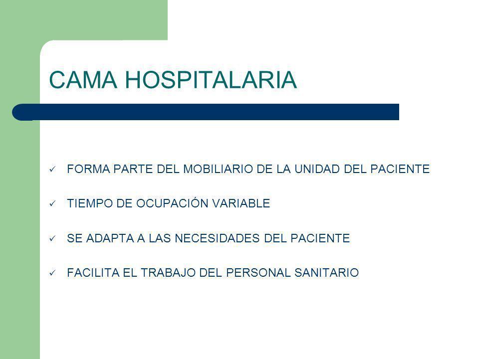 CAMA HOSPITALARIA FORMA PARTE DEL MOBILIARIO DE LA UNIDAD DEL PACIENTE