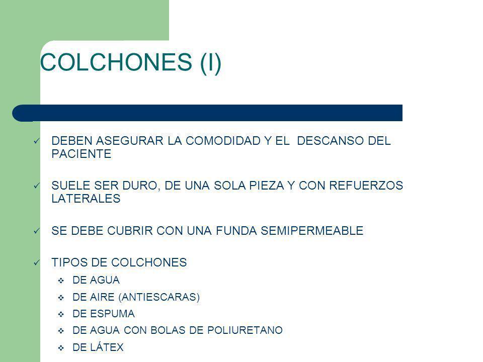 COLCHONES (I) DEBEN ASEGURAR LA COMODIDAD Y EL DESCANSO DEL PACIENTE