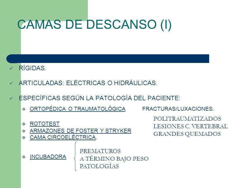 CAMAS DE DESCANSO (I) RÍGIDAS. ARTICULADAS: ELÉCTRICAS O HIDRÁULICAS.