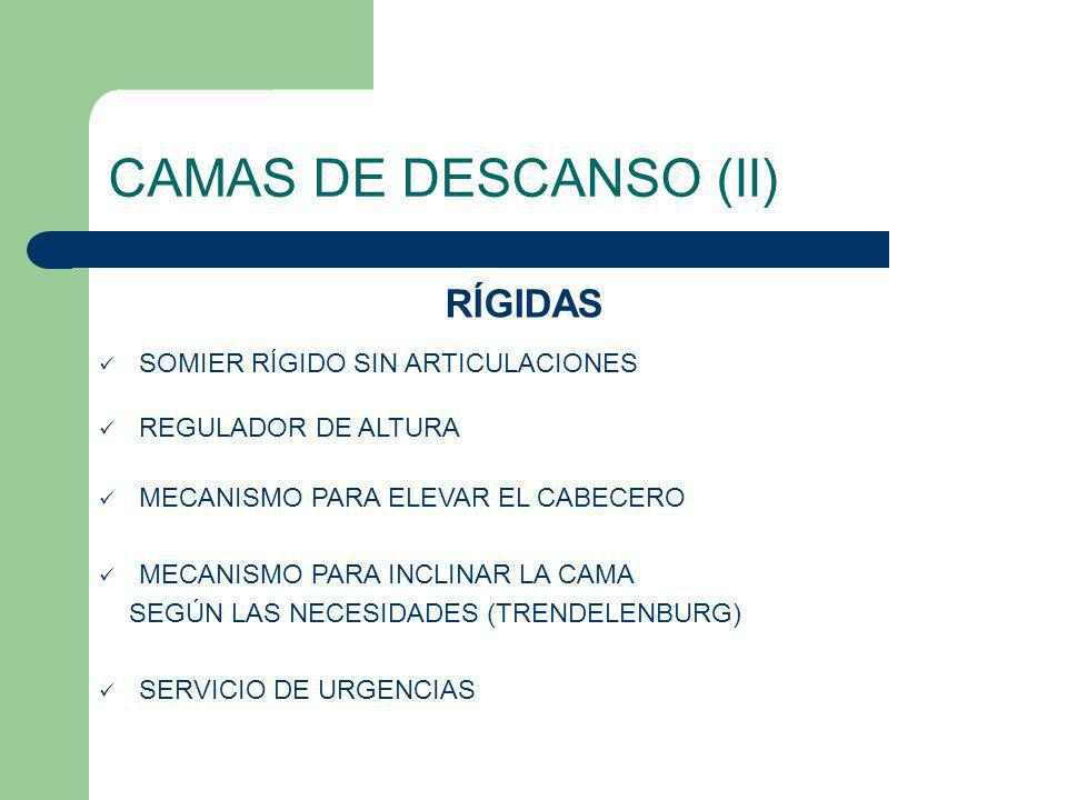 CAMAS DE DESCANSO (II) RÍGIDAS SOMIER RÍGIDO SIN ARTICULACIONES