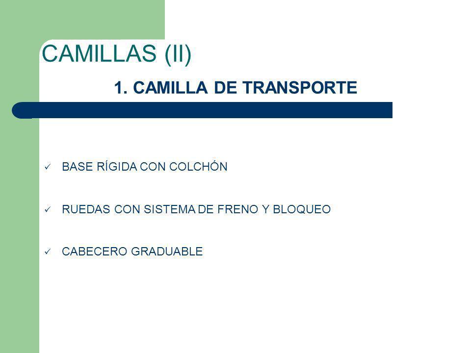 CAMILLAS (II) 1. CAMILLA DE TRANSPORTE BASE RÍGIDA CON COLCHÓN