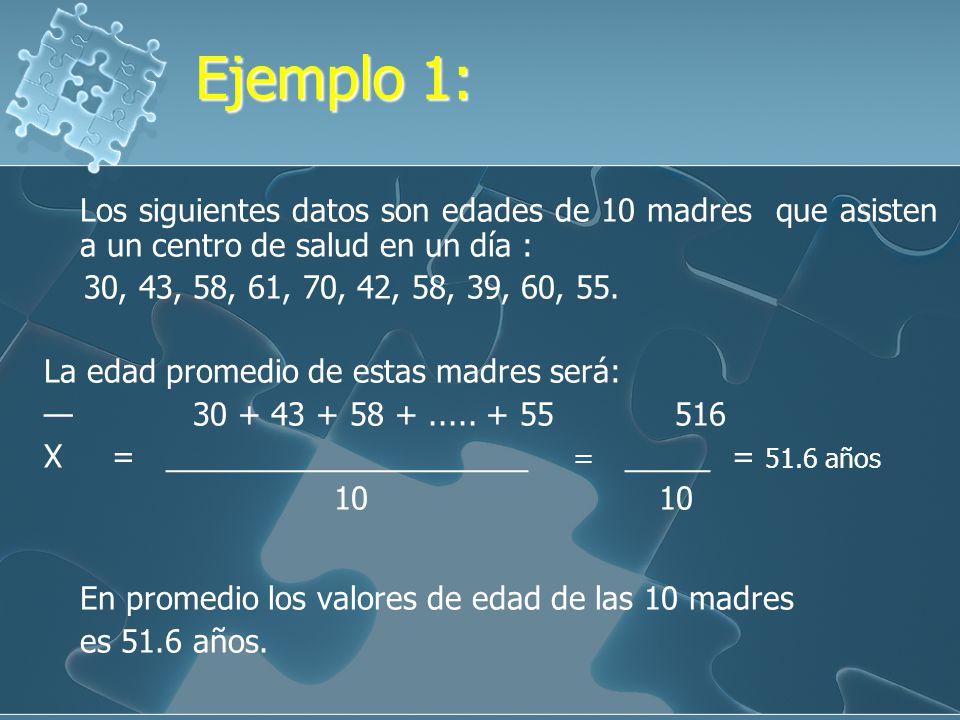 Ejemplo 1: Los siguientes datos son edades de 10 madres que asisten a un centro de salud en un día :