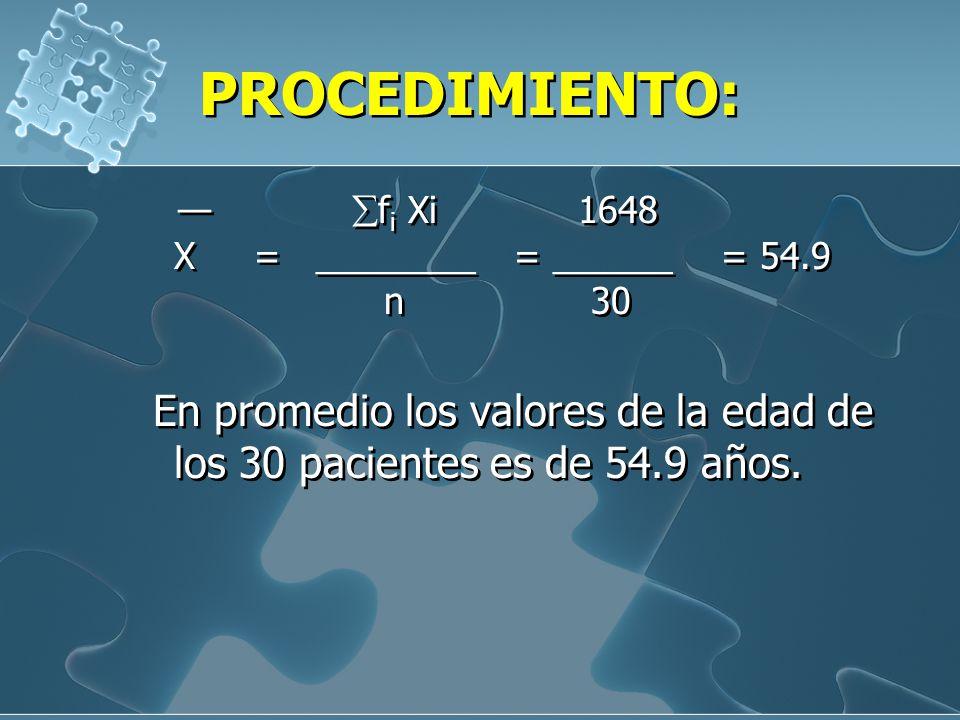 PROCEDIMIENTO: — fi Xi 1648 X = ________ = ______ = 54.9 n 30.
