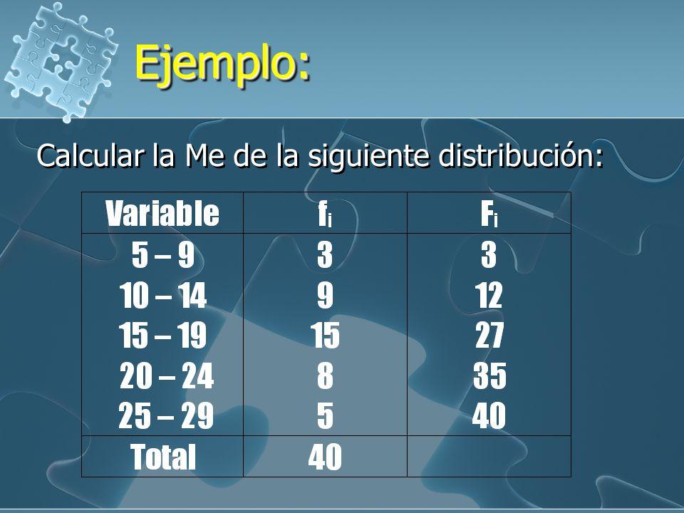 Ejemplo: Calcular la Me de la siguiente distribución: