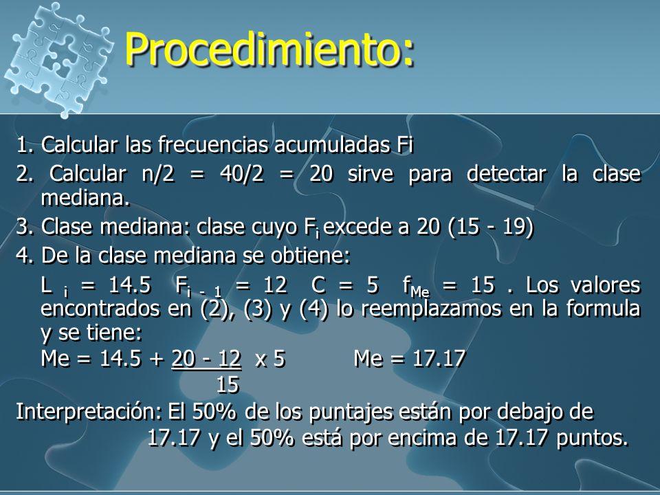 Procedimiento: 1. Calcular las frecuencias acumuladas Fi