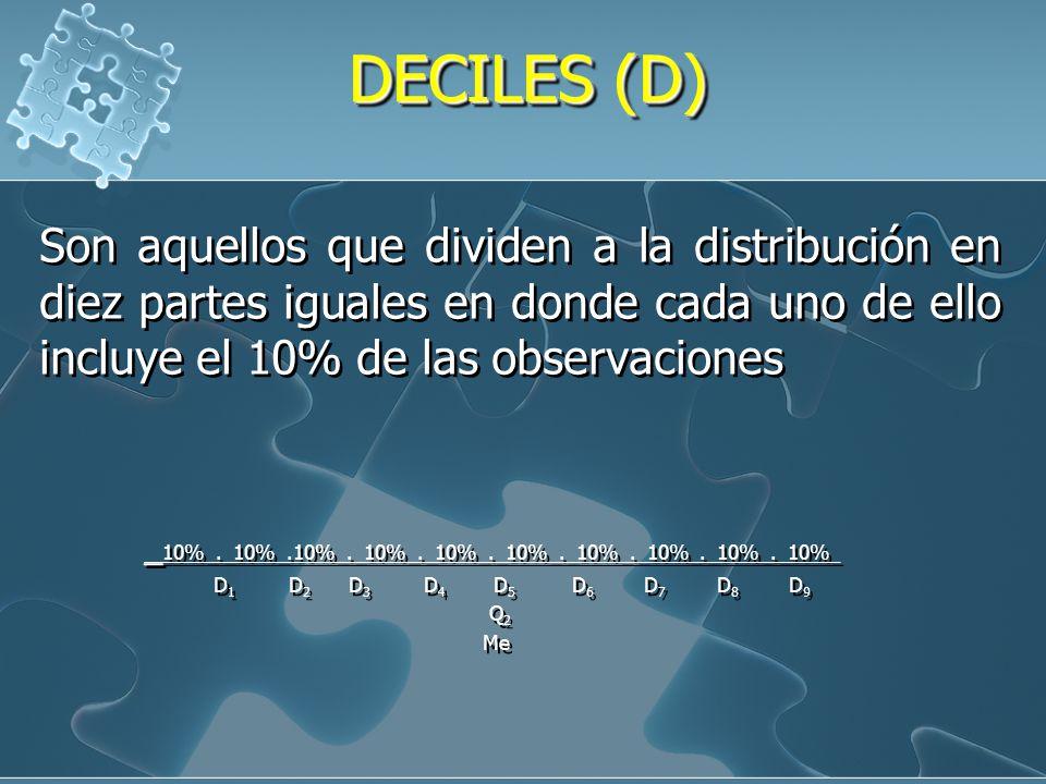 DECILES (D) Son aquellos que dividen a la distribución en diez partes iguales en donde cada uno de ello incluye el 10% de las observaciones.