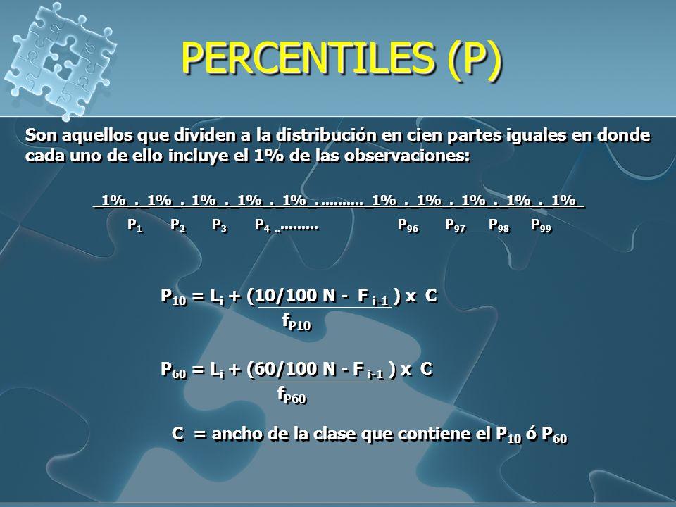 PERCENTILES (P) Son aquellos que dividen a la distribución en cien partes iguales en donde cada uno de ello incluye el 1% de las observaciones: