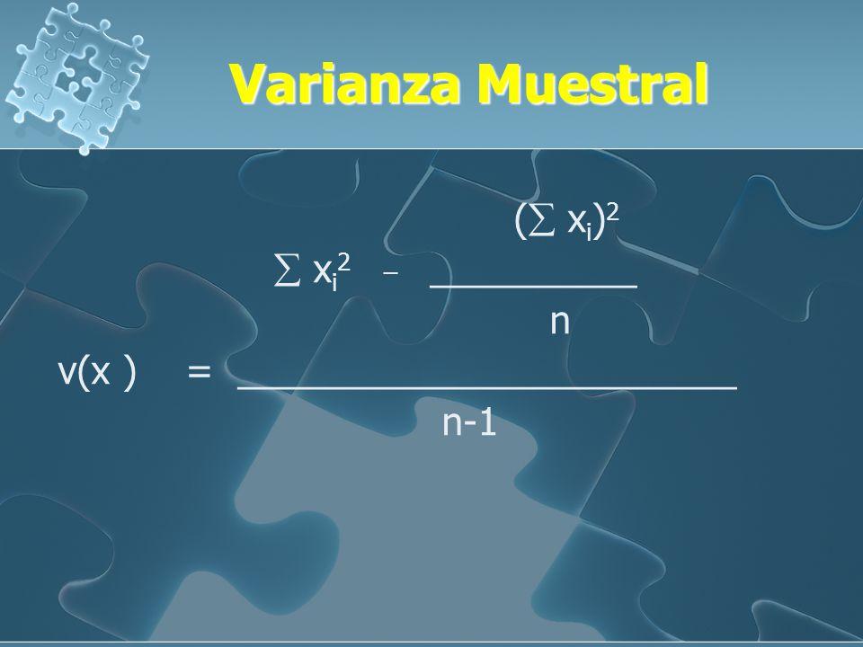 Varianza Muestral ( xi)2  xi2 _ __________ n