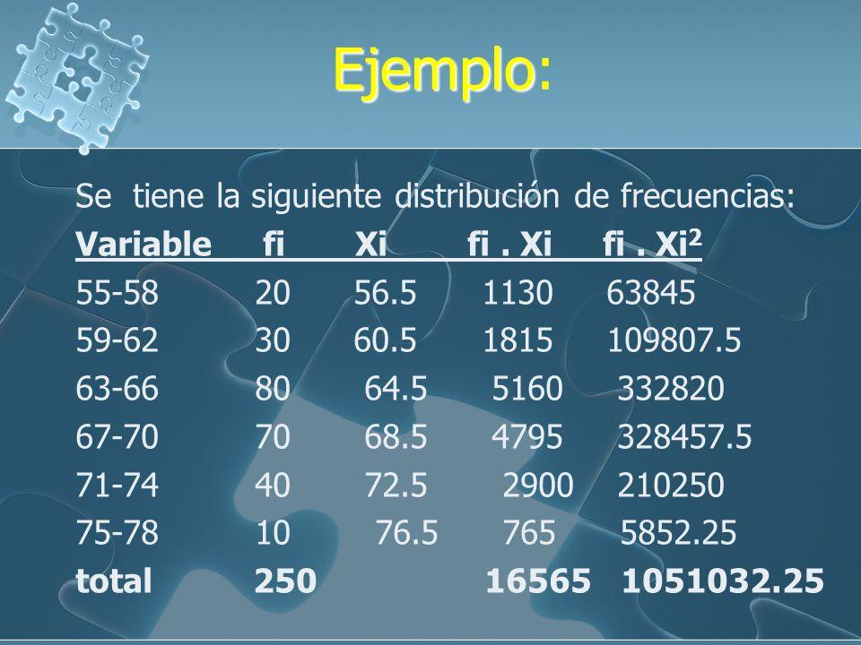 Ejemplo: Se tiene la siguiente distribución de frecuencias: