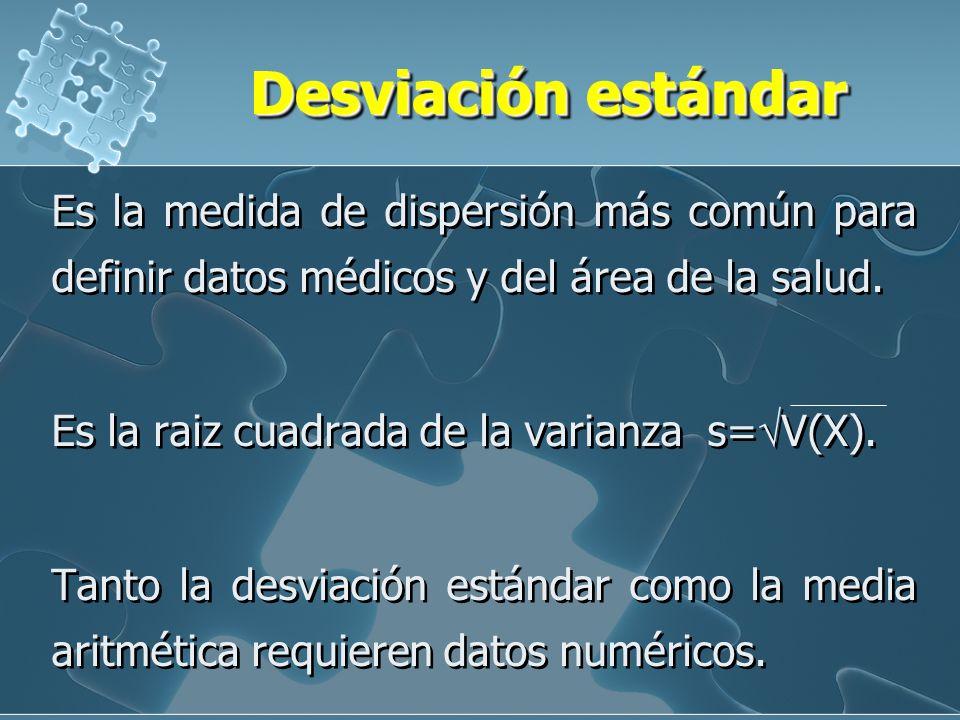 Desviación estándar Es la medida de dispersión más común para definir datos médicos y del área de la salud.