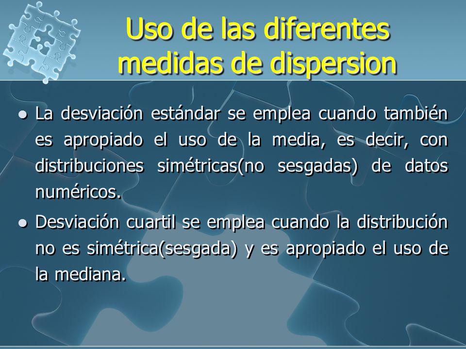 Uso de las diferentes medidas de dispersion