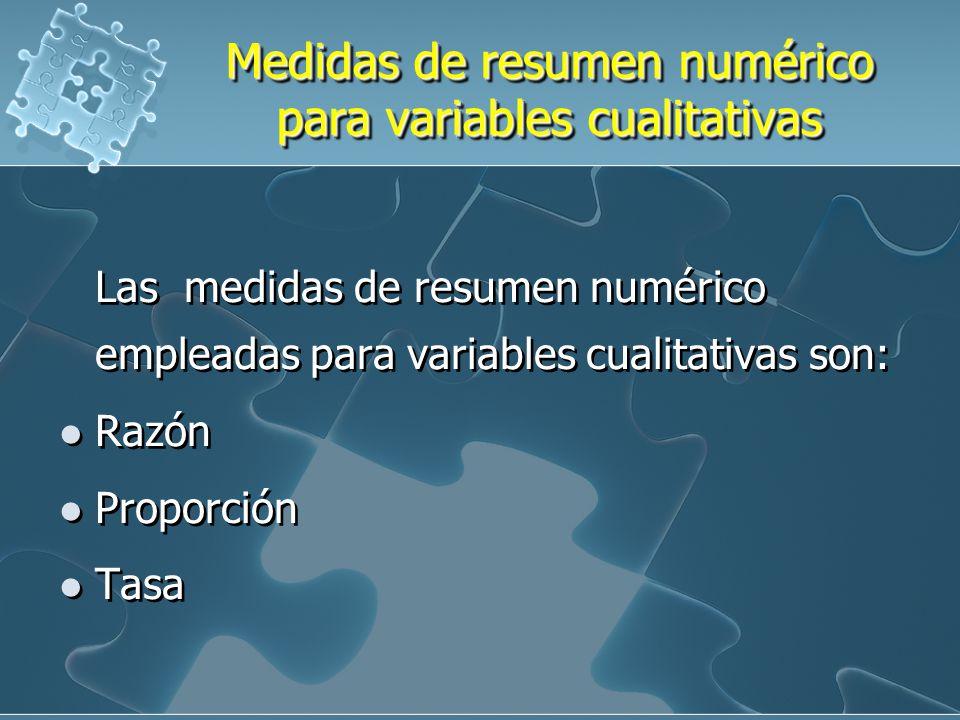 Medidas de resumen numérico para variables cualitativas