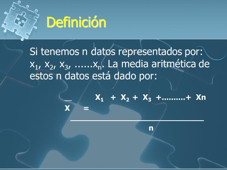Definición Si tenemos n datos representados por: x1, x2, x3, ......xn. La media aritmética de estos n datos está dado por: