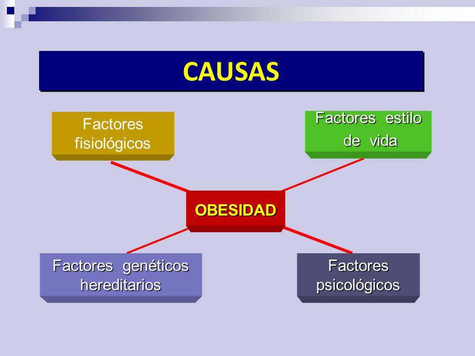 CAUSAS Factores fisiológicos Factores estilo de vida OBESIDAD