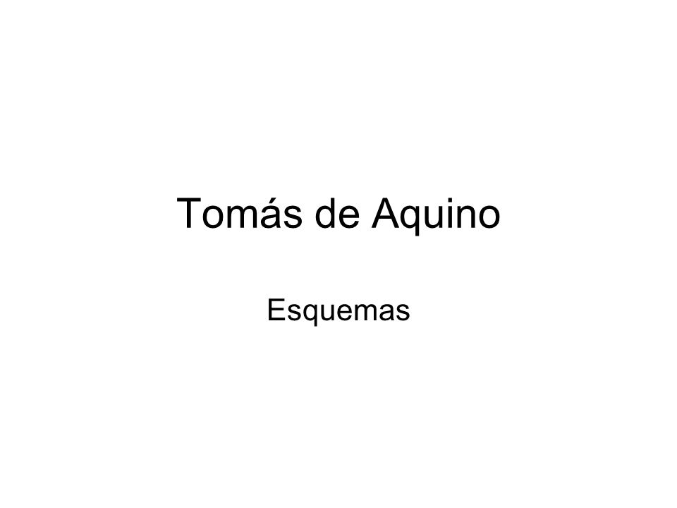 Tomás de Aquino Esquemas
