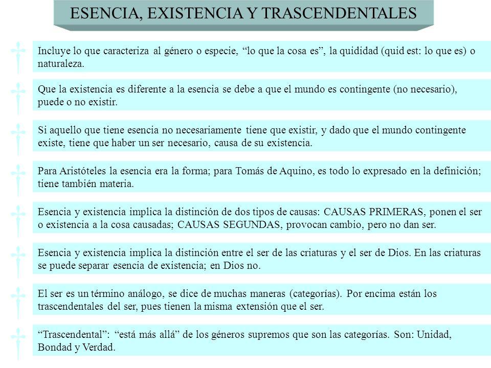 ESENCIA, EXISTENCIA Y TRASCENDENTALES