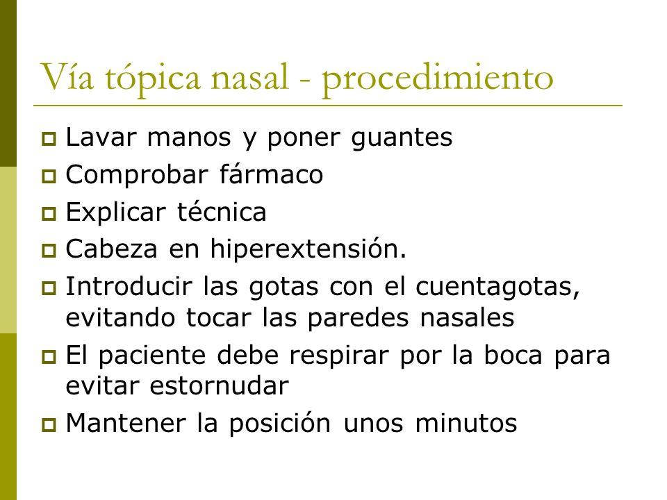 Vía tópica nasal - procedimiento