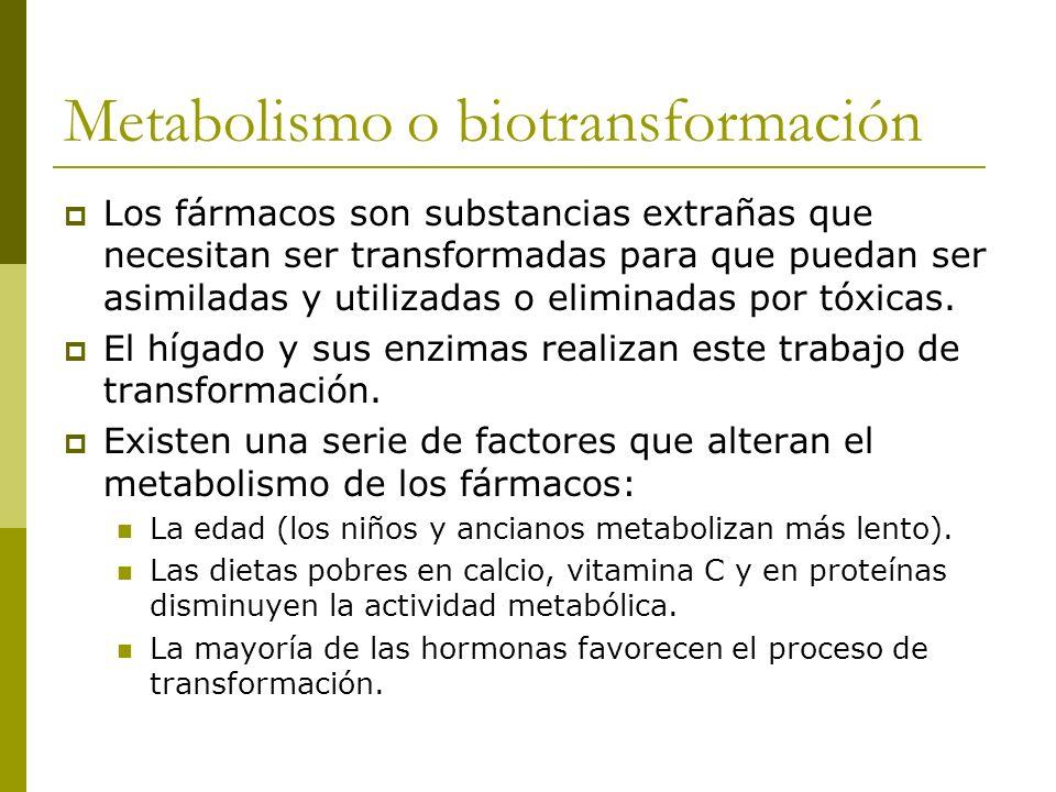 Metabolismo o biotransformación