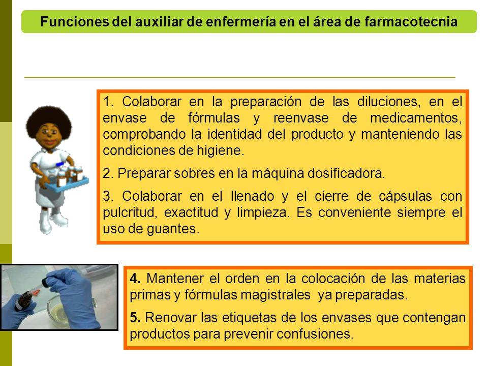 Funciones del auxiliar de enfermería en el área de farmacotecnia