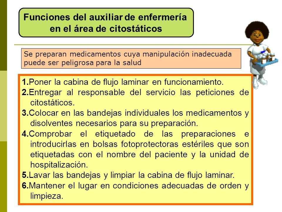 Funciones del auxiliar de enfermería en el área de citostáticos