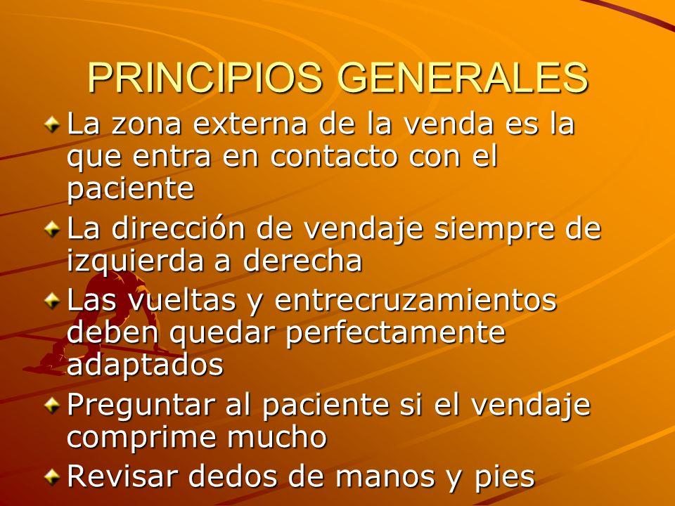 PRINCIPIOS GENERALES La zona externa de la venda es la que entra en contacto con el paciente. La dirección de vendaje siempre de izquierda a derecha.