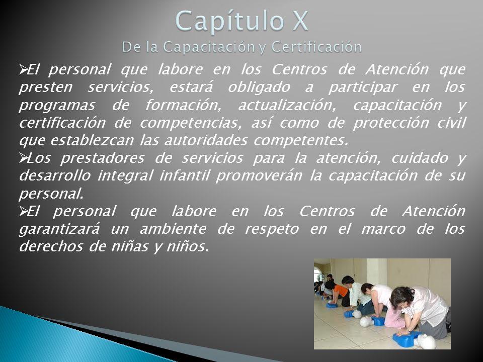 Capítulo X De la Capacitación y Certificación