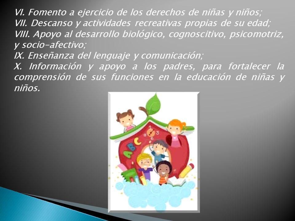 VI. Fomento a ejercicio de los derechos de niñas y niños;