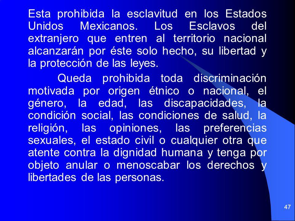 Esta prohibida la esclavitud en los Estados Unidos Mexicanos
