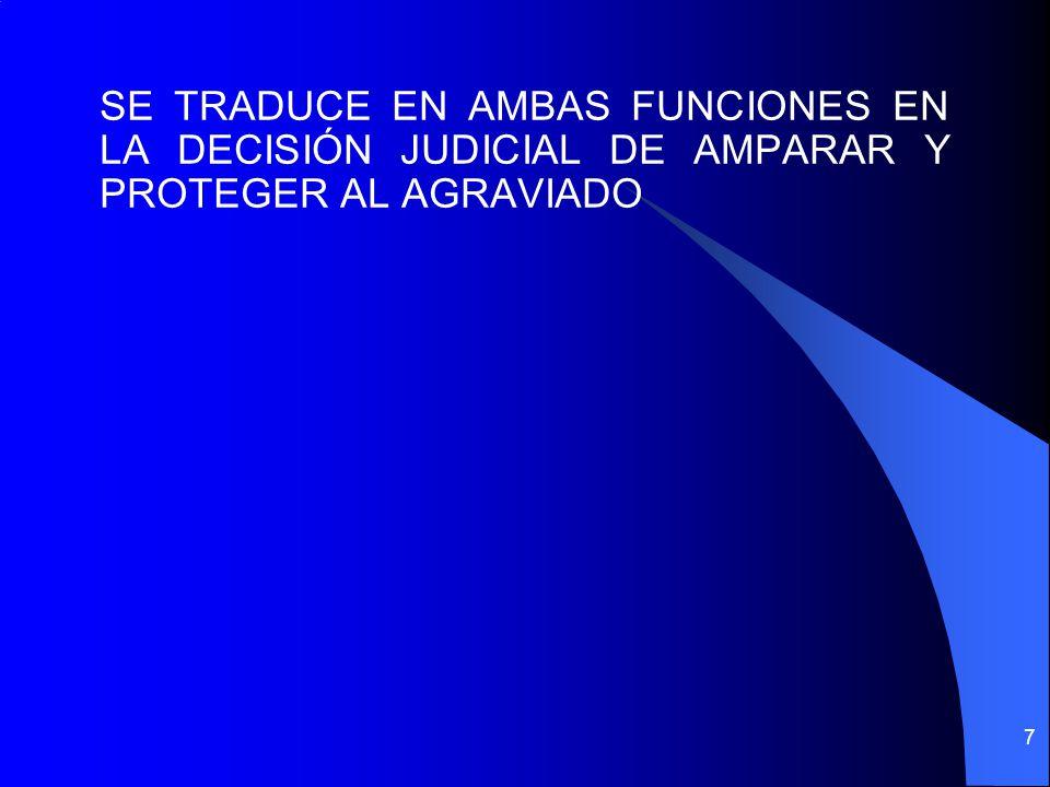 SE TRADUCE EN AMBAS FUNCIONES EN LA DECISIÓN JUDICIAL DE AMPARAR Y PROTEGER AL AGRAVIADO
