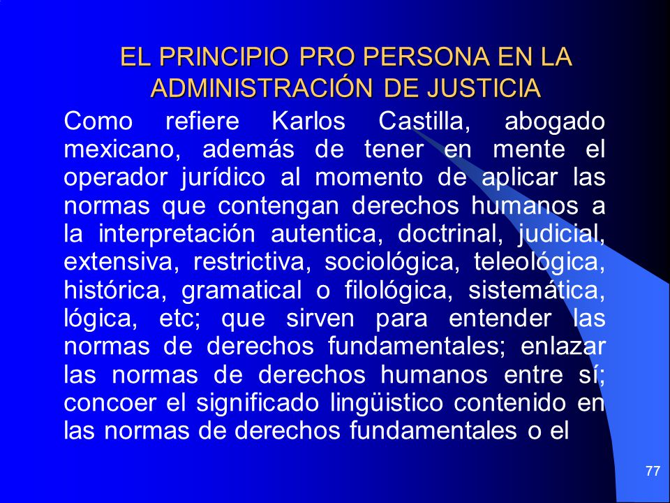EL PRINCIPIO PRO PERSONA EN LA ADMINISTRACIÓN DE JUSTICIA