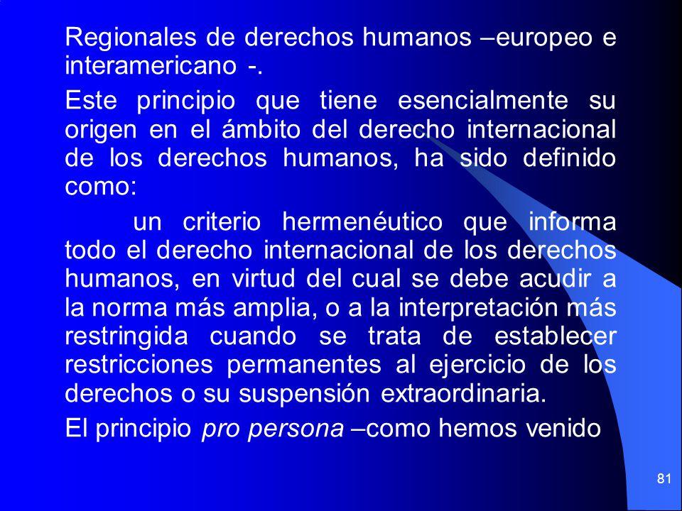 Regionales de derechos humanos –europeo e interamericano -
