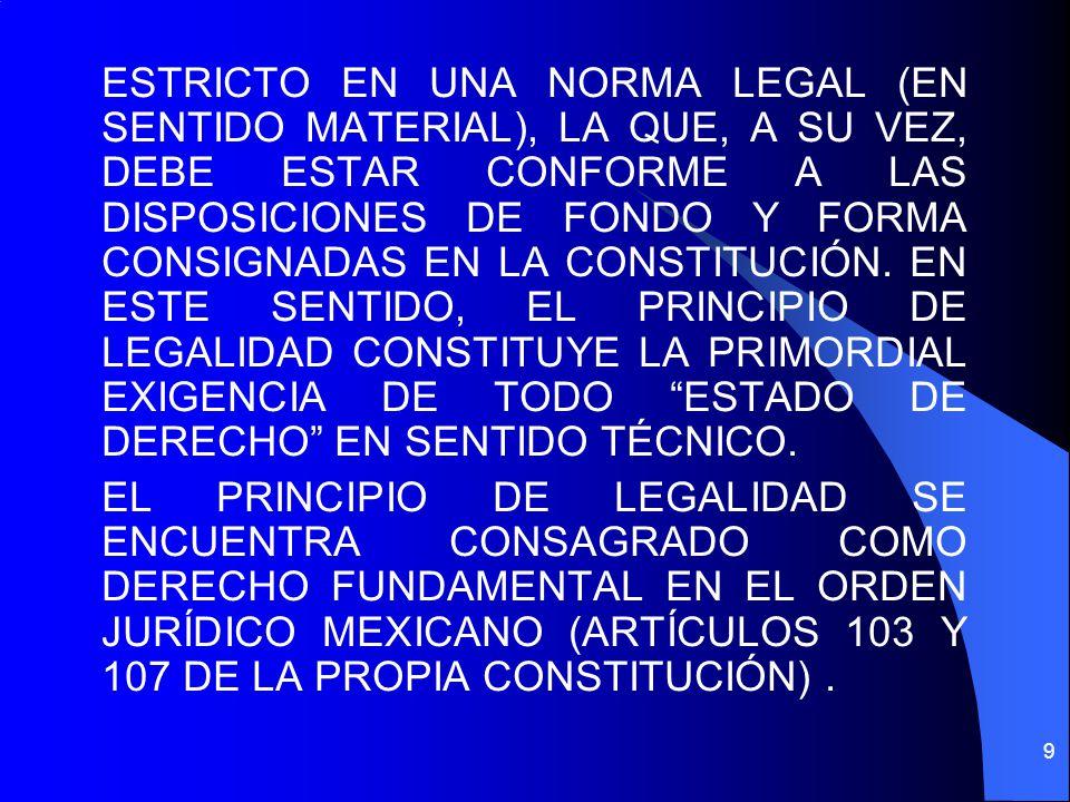 ESTRICTO EN UNA NORMA LEGAL (EN SENTIDO MATERIAL), LA QUE, A SU VEZ, DEBE ESTAR CONFORME A LAS DISPOSICIONES DE FONDO Y FORMA CONSIGNADAS EN LA CONSTITUCIÓN.