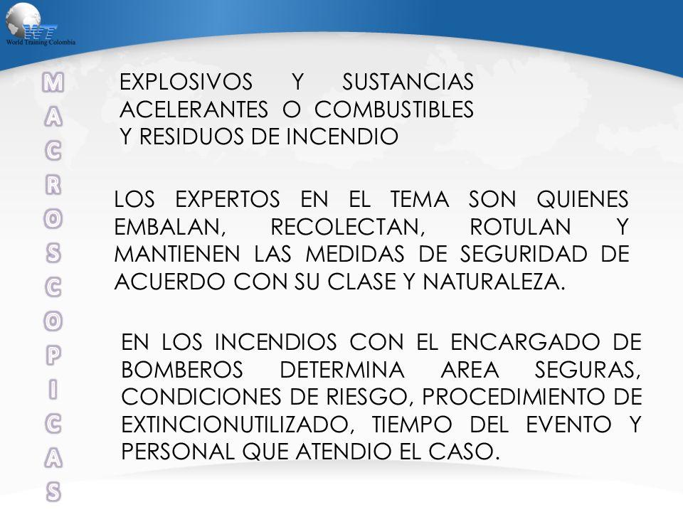 M A. C. R. O. S. P. I. EXPLOSIVOS Y SUSTANCIAS ACELERANTES O COMBUSTIBLES Y RESIDUOS DE INCENDIO.