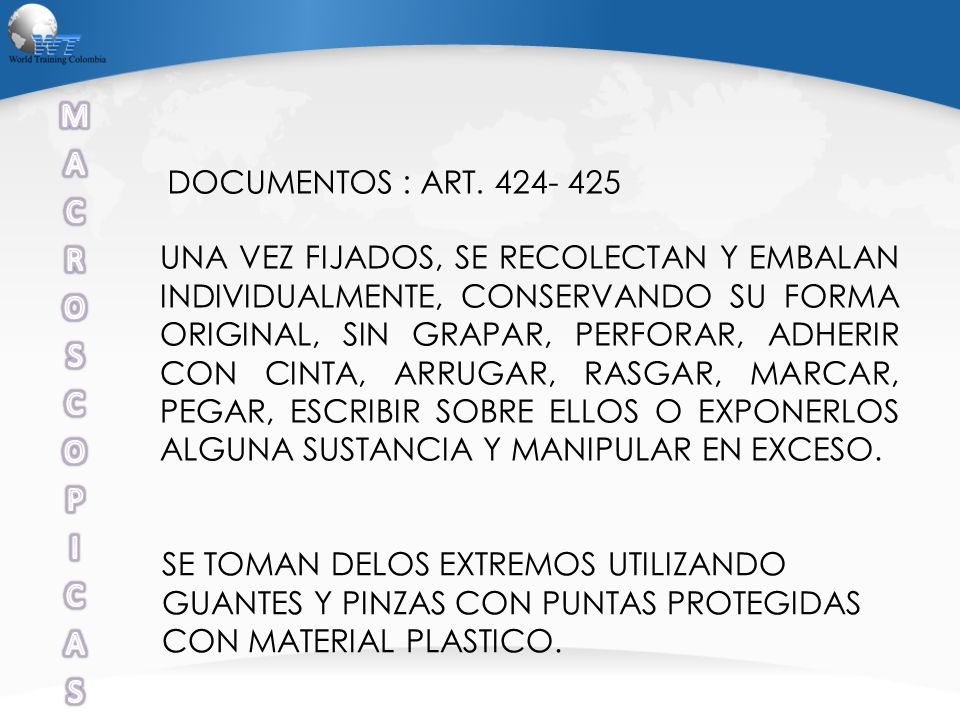 M A C R O S P I DOCUMENTOS : ART. 424- 425
