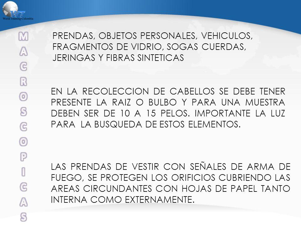 M A. C. R. O. S. P. I. PRENDAS, OBJETOS PERSONALES, VEHICULOS, FRAGMENTOS DE VIDRIO, SOGAS CUERDAS, JERINGAS Y FIBRAS SINTETICAS.