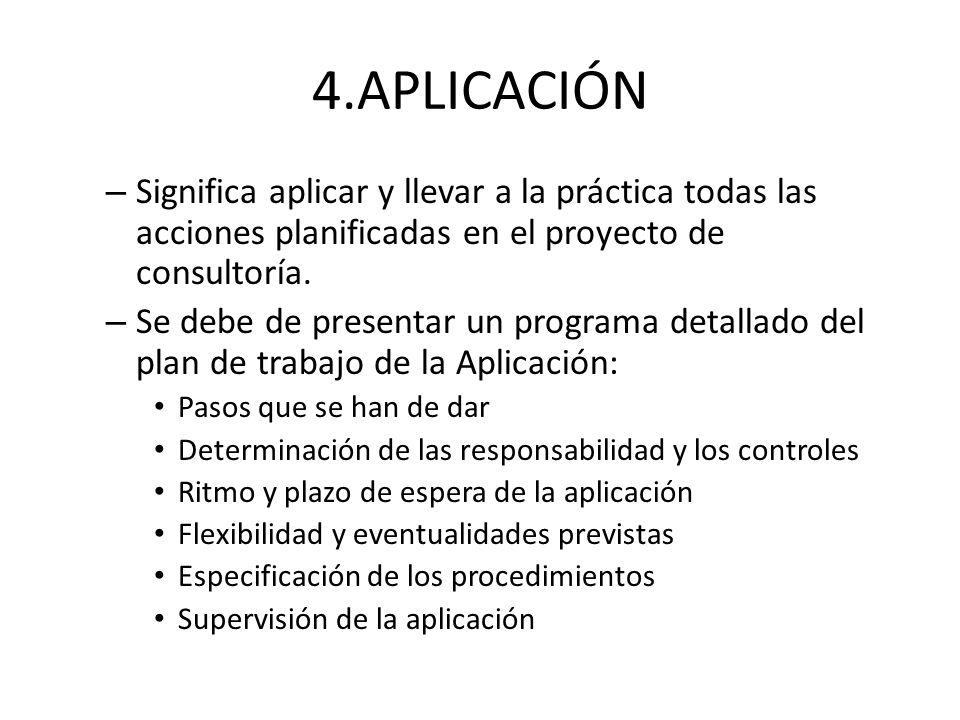 4.APLICACIÓN Significa aplicar y llevar a la práctica todas las acciones planificadas en el proyecto de consultoría.