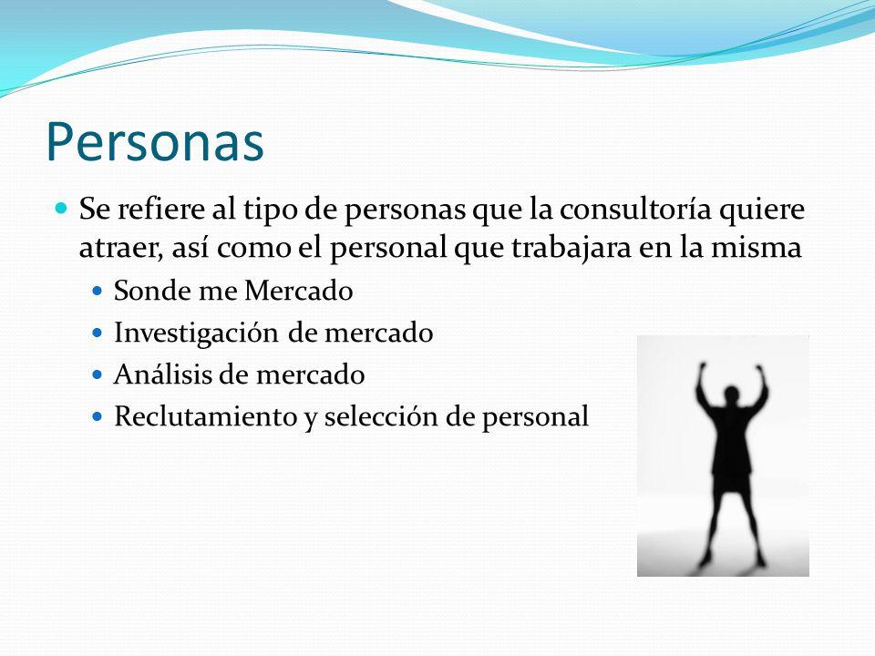 Personas Se refiere al tipo de personas que la consultoría quiere atraer, así como el personal que trabajara en la misma.