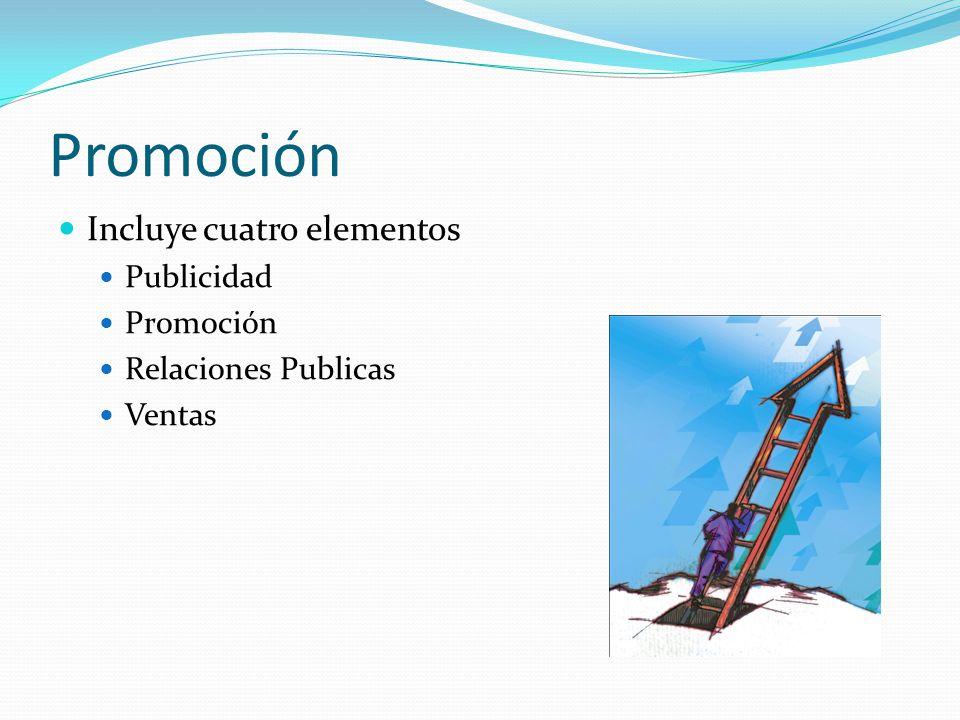 Promoción Incluye cuatro elementos Publicidad Promoción