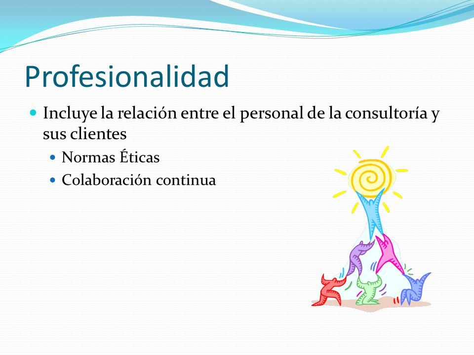 Profesionalidad Incluye la relación entre el personal de la consultoría y sus clientes. Normas Éticas.