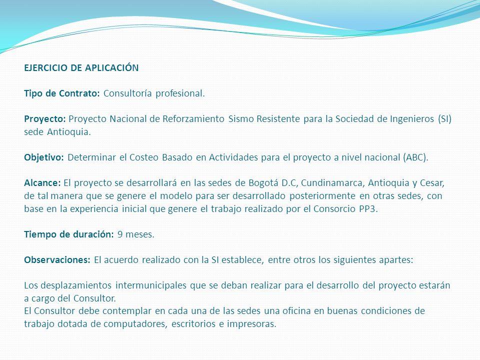 EJERCICIO DE APLICACIÓN Tipo de Contrato: Consultoría profesional