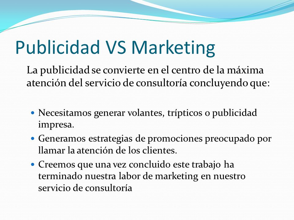 Publicidad VS Marketing