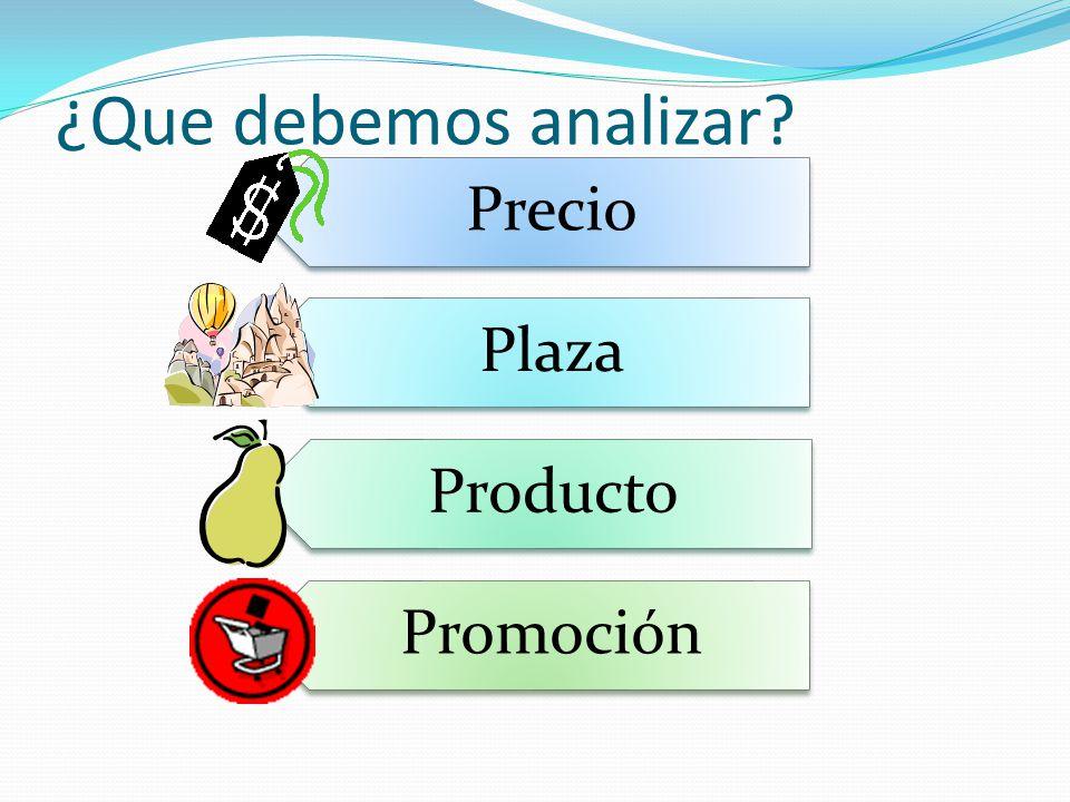 ¿Que debemos analizar Precio Plaza Producto Promoción