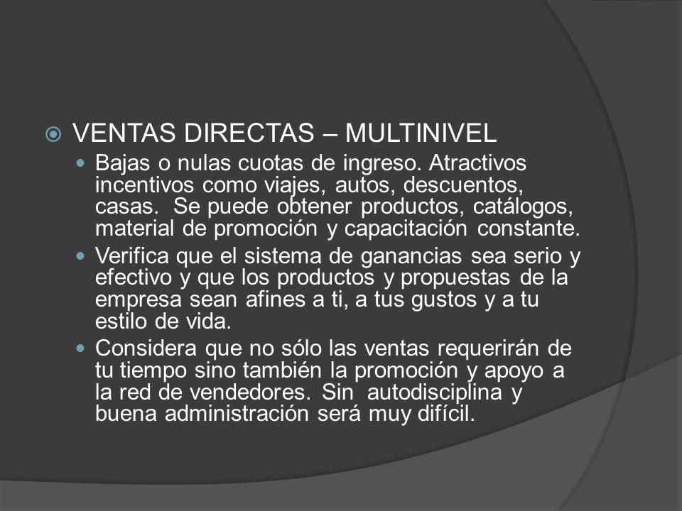 VENTAS DIRECTAS – MULTINIVEL