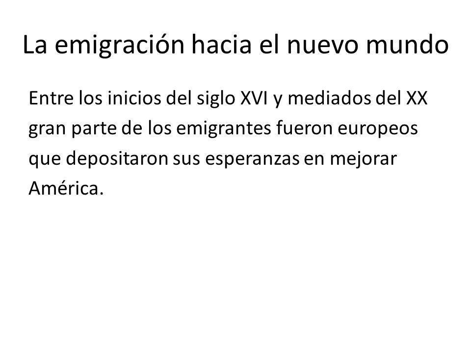 La emigración hacia el nuevo mundo